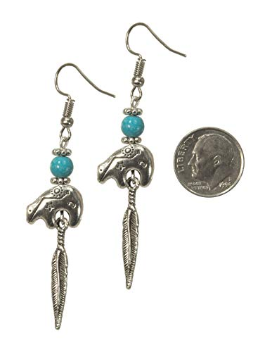 ViciBeads Earrings, Southwestern Heartline Zuni Style Bear with Turquoise Magnesite Feather Dangle Charm Earrings Bag