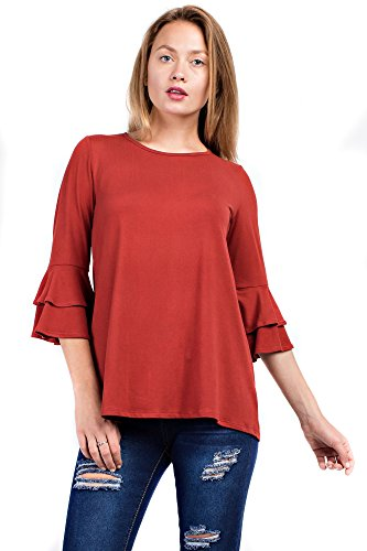 Betsy Red Couture Women's Ruffled 3/4 Sleeve Tunic (S-3X) (Aurora Red, - Aurora Apparel Red