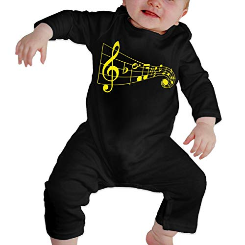 U99oi-9 Long Sleeve Cotton Rompers for Baby Boys and Girls, Cute Musical Note Piano Sleepwear
