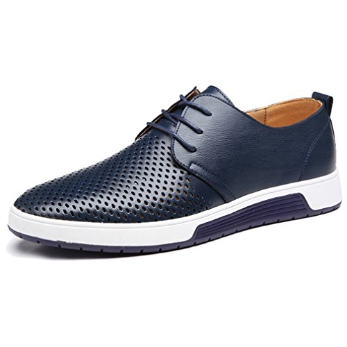 XMWEALTHY Men's British Style Breathable Flat Dress Shoes Blue US - Oxford Casual Mens Shoes
