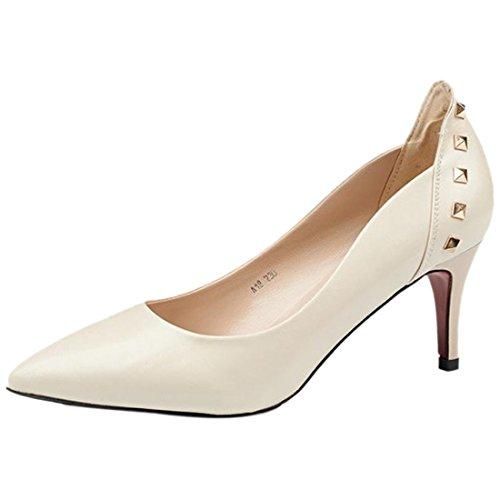 QIYUN.Z Frauen Entspringen Stilettferse Schuh Spitze Zehe Niet Schwarz / Rot / Beige Schuhe Pumpe Cremefarbig