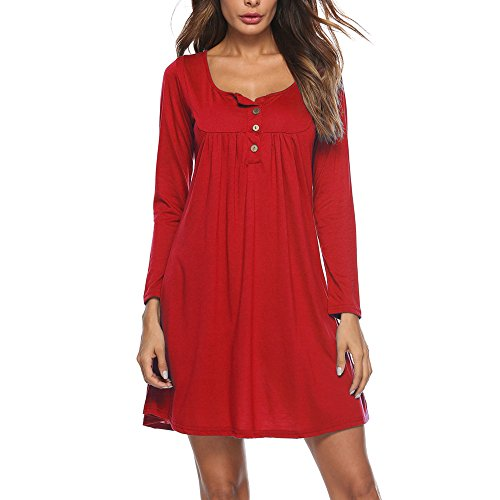 AgrinTol 2019 Dress Women's Casual Solid Long Sleeve Dress Loose Button O-Neckline Mini Dress Red