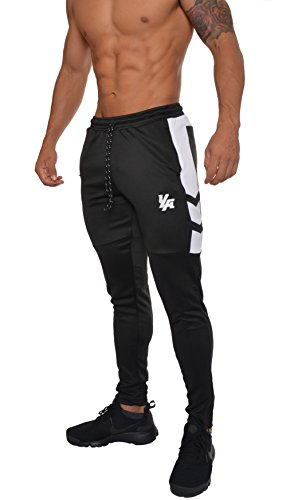 YoungLA Track Pants for Men Workout Athletic Gym Joggers Lightweight Training Sweatpants Tapered Fit 205 Black White Small (Mens Apparel Young)