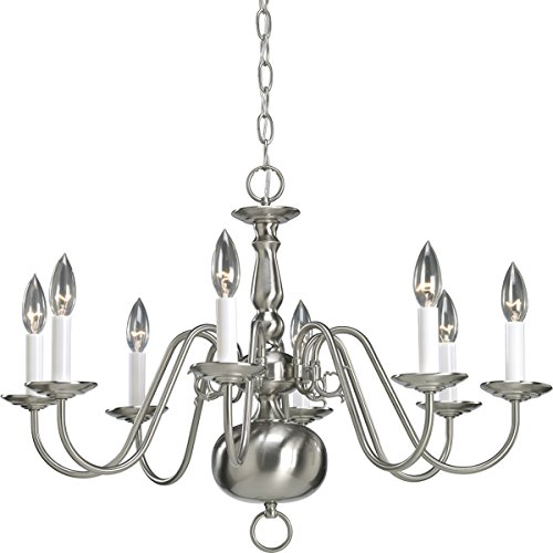 (Progress Lighting P4357-09 8-Light Americana Chandelier with Delicate Arms and Decorative Center Column and Candelabra Lamps, Brushed Nickel)