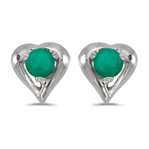 10k White Gold Round Emerald Heart Earrings