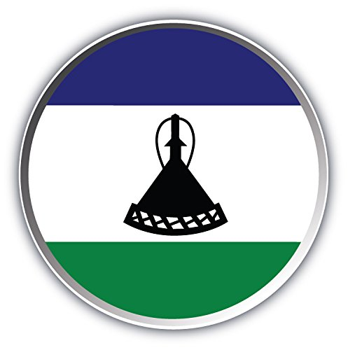 Lesotho Flag Label Art Decor Bumper Sticker 5'' x 5''