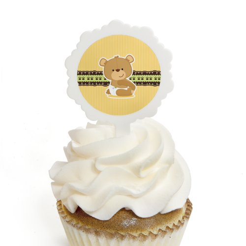 Baby Teddy Bear - Cupcake Picks with Stickers - Baby Shower Cupcake Toppers - 12 Count