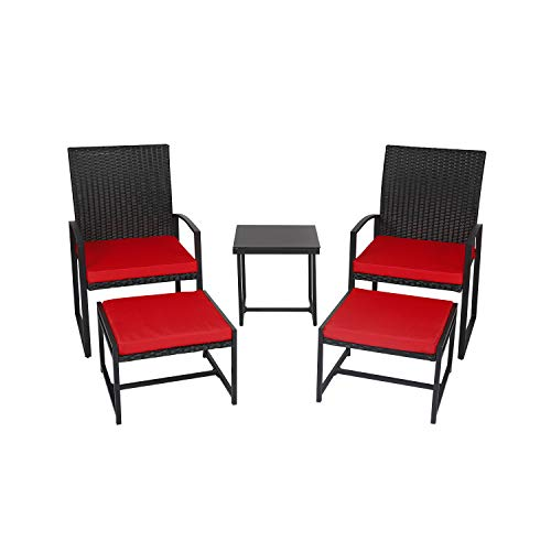 kinbor 5 Piece Patio Wicker Porch Chairs Outdoor PE Rattan Furniture Set with Cushioned Ottoman and Table (Porch Furniture Used)