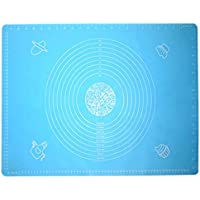 VIQILANY 64x45cm Large Silicone Mat with Measurements,for Baking,Sugar craft,Fondant,Pastry,Icing Cake,Clay - Blue