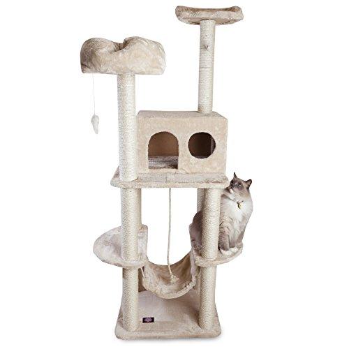 Majestic Pet Products 76 inch Beige Casita Cat Furniture Condo House Scratcher Multi Level Pet Activity Tree ()