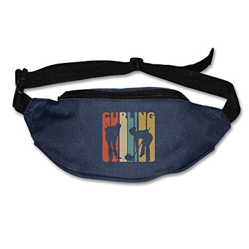 Retro 1970's Style Curlers Silhouette Curling Running Waist Pack Bag,Running Sling Backpack Crossbody Bag Fanny Packs