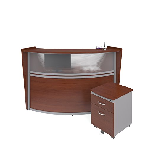 OFM Marque Series Plexi Single-Unit Curved Reception Station - Office Furniture Receptionist/Secretary Desk with Cherry Pedestal (PKG-55310-CHY)