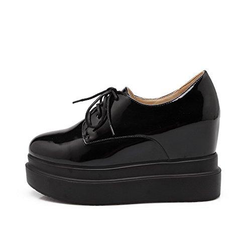 Amoonyfashion Mujeres High-heels Charol Sólido Con Cordones Redondo Cerrado Toe Bombas-zapatos Negro