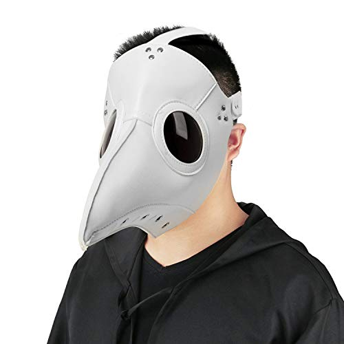 Plague Doctor Mask Birds Long Nose Beak Faux Leather Steampunk Halloween Costume Props (Deluxe White)