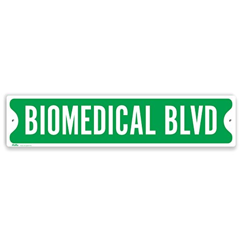 PetKa Signs and Graphics PKSS-0041-NA_18x4 Biomedical BLVD Aluminum Sign, 18'' x 4'', White on Green by Petka Signs and Graphics