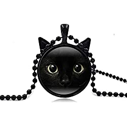 I's Vintage Steampunk Style Lucky Cat Kitty Glass Pendant Necklace For Women Holiday Gifts (Black Cat)