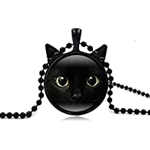 Black Cat Vintage Steampunk Style Glass Jewelry Pendant Necklace for Women