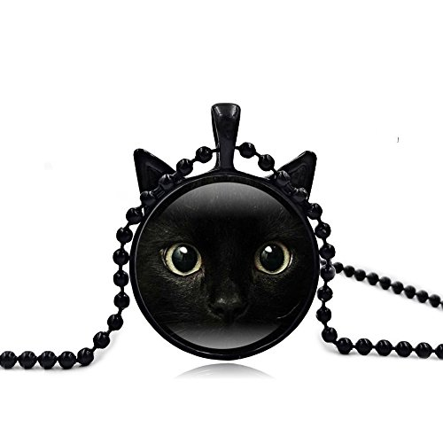 Vintage Steampunk Style Lucky Cat Kitty Glass Pendant Necklace For Women Holiday Gifts (Black Cat) (Cats Eye Round Necklace)