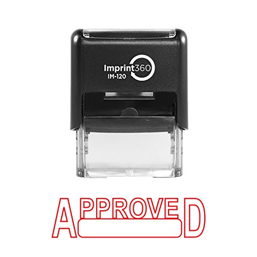 Imprint 360 AS-IMP1000 - APPROVED w/Signature Box, Heavy Duty Commerical Quality Self-Inking Rubber Stamp, Red Ink, 9/16' x 1-1/2' Impression Size, Laser Engraved for Clean, Precise Imprints