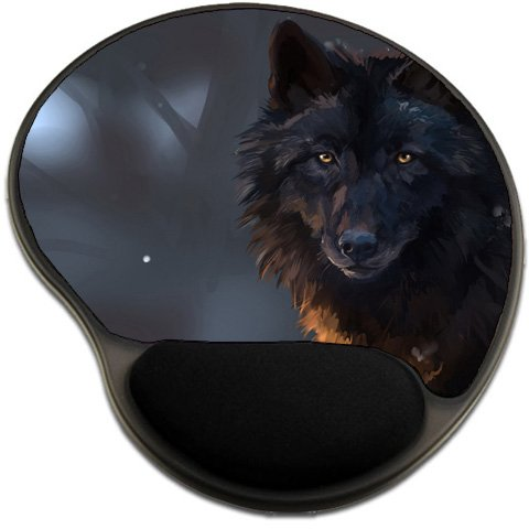 Black Wolf Mousepad Base with Wrist Support Mouse Pad Great Gift Idea