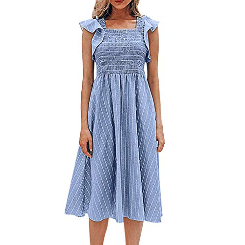 Womens Beach Ruffles Sleeve Square Collar Stripe Print Long Dress Ruffled Sleeves Collar Pleated Maxi Dress Blue