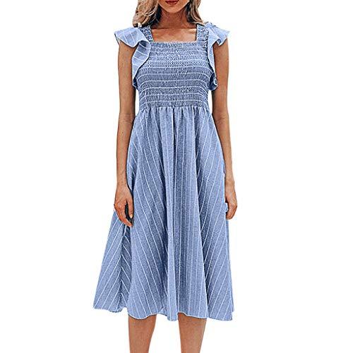 Tronet Summer Casual Dresses,Fashion Womens Beach Ruffles Sleeve Ladies Square Collar Stripe Print Long Dress ()