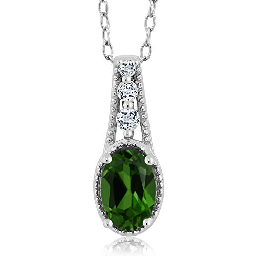 - Gem Stone King 0.53 Ct Oval Green Chrome Diopside White Topaz 925 Sterling Silver Pendant