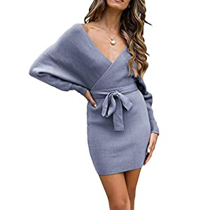 ZESICA Women's Long Batwing Sleeve Wrap V Neck Knitted Backless Bodycon Pullover Sweater Dress with Belt