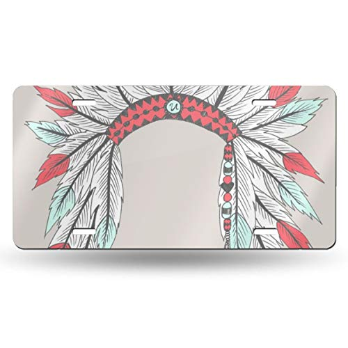 (Indian Feather Headdress Novelty Design Metal License Plate Tag Sign 6