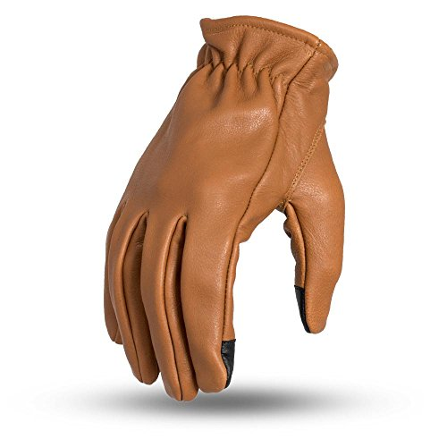 First Mfg Co Men's Roper Leather Motorcycle Touch Tech Finger Gloves (Whiskey, Medium) ()