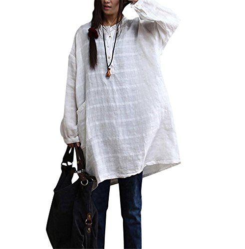 AB0 Women Tops Blouses Shirts Casual Loose Fit Maxi Big Pockets 100% Linen White (2XL(US 20-US22), White),XX-Large,White