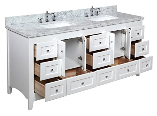 Kitchen Bath Collection KBC3872WTCARR Abbey Bathroom Vanity with ...