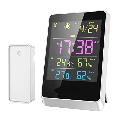 V.JUST Digital Indoor/Outdoor Weather Station with Colour LCD Display and Wireless Sensor, Forecaster Station with Alarm Clock Snooze Function, Min/Max Temperature Humidity ()
