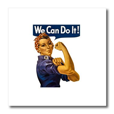 Vintage Iron On Transfers - 3D Rose Vintage Rosie The Riveter WWII American Feminist Icon We Can Do It Iron On Heat Transfer, 10 x 10, White