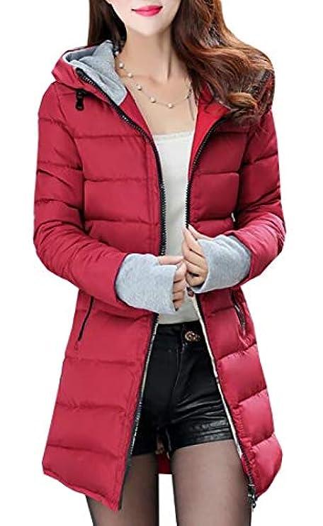 Fur Womens Soprabito Cappuccio Ainr Down Con Faux Warm Puffer Jacket Parka Coat Lungo wAUIqS