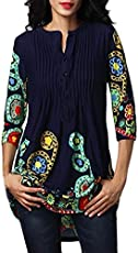 780fb37013d0e UOKNICE Women Half Sleeve Patterned Printed Crew Neck Button Tops Loose  T-Shirt Blouse