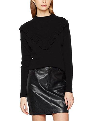 New Look Ruffle Front - Pull Femme Noir (Black)