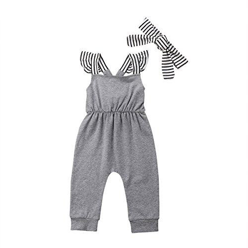 Infant Baby Girl Summer Rainbow Stripe One Piece Romper Bodysuit Clothes Set (Koala, 0-3 Months)