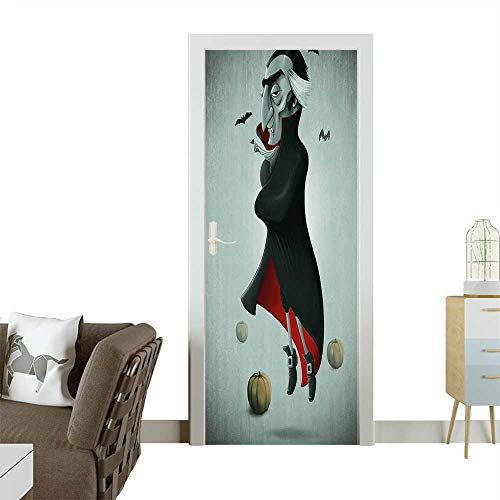 Art Door Stickers Halloween Night Pumpkins and Old Vampire with Cape Flying Bats Black Almond Green Door Decals for Home Room DecorationW30 x H80 -