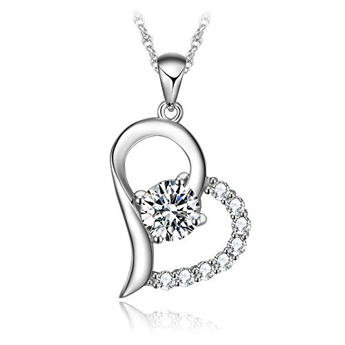 T400 925 Sterling Silver White Cubic Zirconia Heart Round Pendant Necklace Birthday Gift for Women Girls