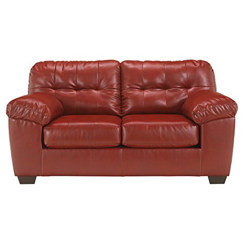 - Ashley Furniture Signature Design - Alliston Contemporary Loveseat - Salsa