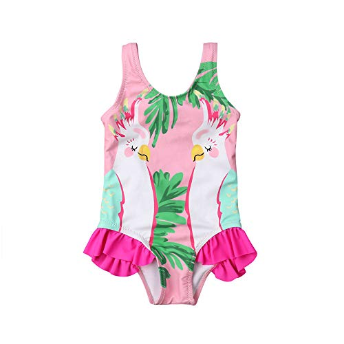 Swimsuit Ruffle Infant One Piece (Baby Girl Ruffle Swimsuit One-Piece Bathing Suit Cute Parrot Bikini Toddler Swimwear Infant Beach Wear for Ages 0-24M (Pink, 12-18 M))