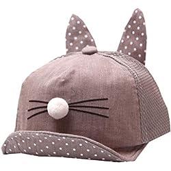 Voberry@ Baby Hats, Cute Kids Hats Baby Children Cartoon Summer Cat Student Hat Baseball Cap Sunhat (Gray)