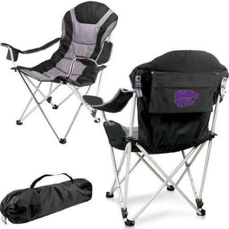 NCAA Kansas State Wildcats Reclining Camp Chair, Black
