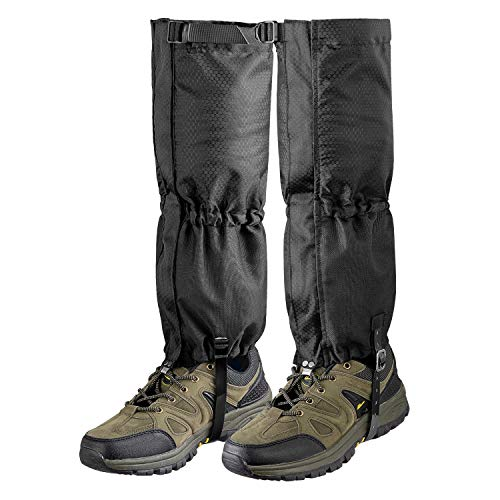 Unigear Leg Gaiters Waterproof Boot Gaiters with Zipper for Hiking Hunting Climbing Snowing for Men and Women (Black, Large)