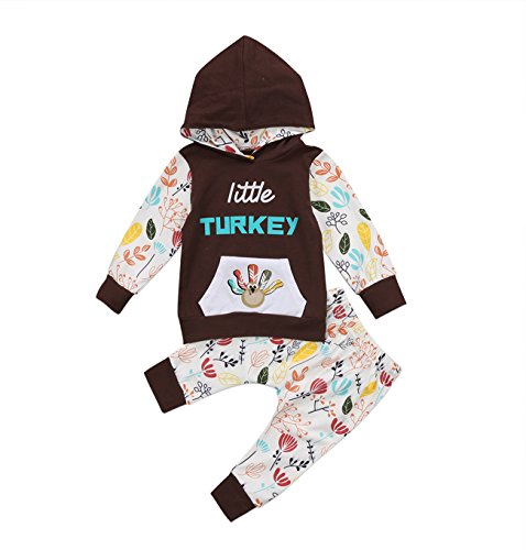Little Turkey Baby Costume (Baby Girls Little Turkey Thanksgiving Outfit Hoodie Sweatshirt Floral Pants Set (18-24M, Brown))