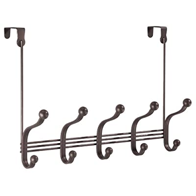 """InterDesign York Lyra Over Door Storage Rack – Organizer Hooks for Coats, Hats, Robes, Clothes or Towels – 5 Dual Hooks, Bronze - EVERYDAY USE: 5 bronze double hooks, ideal for hallways, bathrooms, bedrooms or closets. OVER DOOR DESIGN: Utilize unused storage space behind doors - fits interior doors up to 1.75"""" thick. VERSATILE ORGANIZER: Hanging hooks for clothes, towels, coats, hats, robes, purses and more. - entryway-furniture-decor, entryway-laundry-room, coat-racks - 41bgPdR5k8L. SS400  -"""