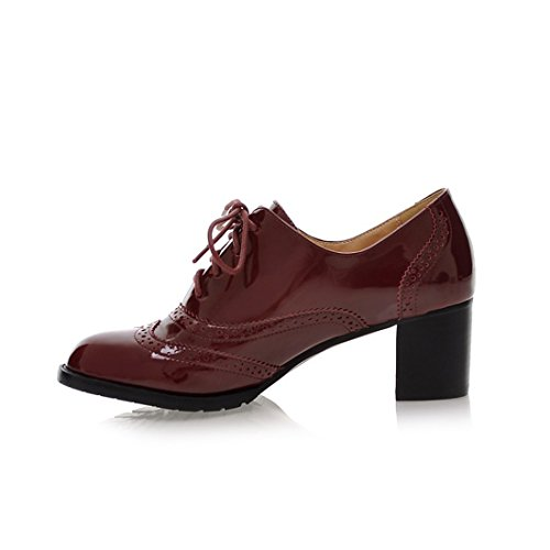 Patent Lace Heel Bootie Shoes Wine Chunky Classic Leather Wingtip Oxford Mostrin Fashion Red Up Womens fxHA8q1