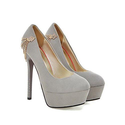 Donne calzature Solidi Estraibili Talloni Su Rotonda Chiusa Amoonyfashion Grigio Pompe Punta gq7TST