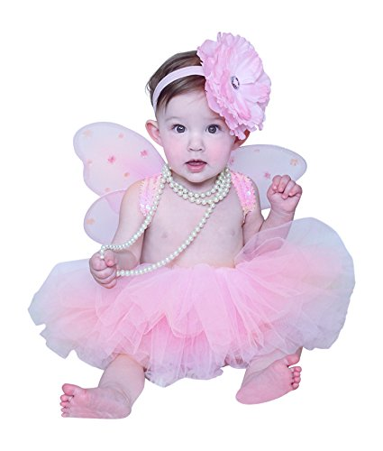 Ballerina Halloween Costume (Baby Tutu Set with Fairy Wings and Headband in Pink (IM (6-12 months)))
